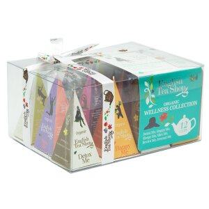 English Tea Shop - Teegeschenk mit Schleife Wellness Tee Kollektion, BIO, 12 Pyramiden-Beutel #