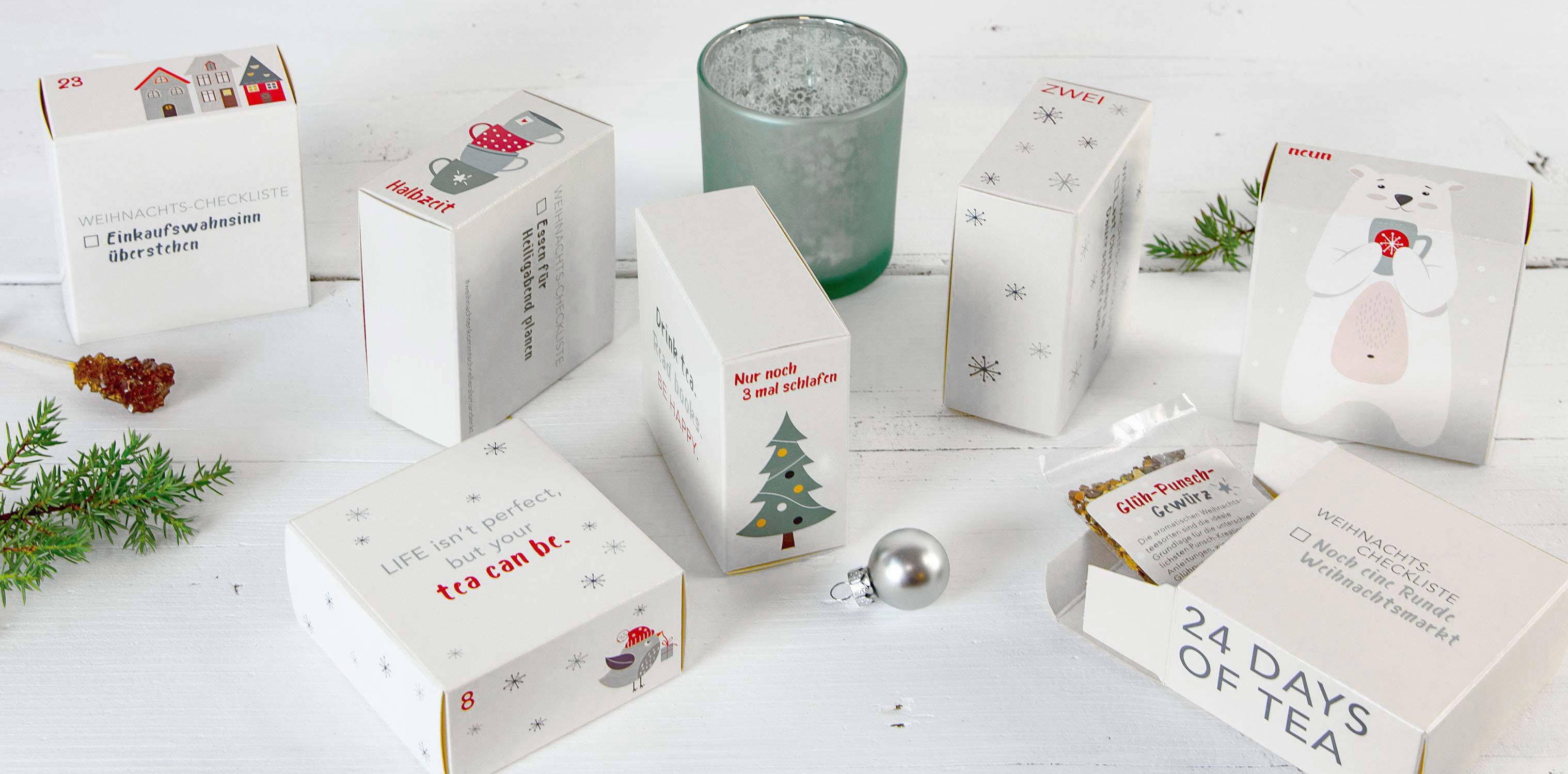 Erlebnis Tee-Adventskalender - liebevoll gestaltete Schächtelchen